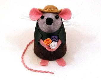 Artisan Gardener Mouse Ornament felt rat hamster mice cute gift for animal lover or collector - Buddy the Gardener Mouse