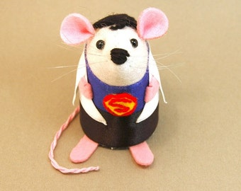 Superman Mouse - collectable Supermouse artisan marvel rat ornament gift for fathers day anniversary hero husband boyfriend dad superdad