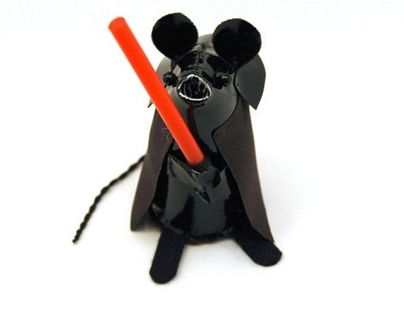 Darth Vader Mouse - cute shiny black mouse ornament by TheHouseOfMouse
