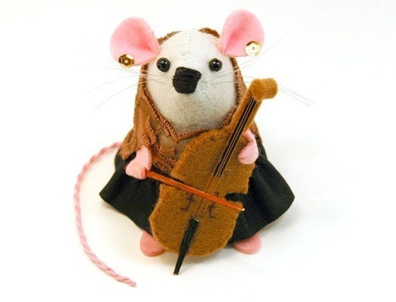 Cellist Cello Player Mouse ornament gift for cellist musician wife girlfriend music lovers felt mice rat hamster - Nona the cellist mouse