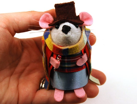 RESERVED for skyefire -  Doctor Who Tom Baker ornament felt mouse hamster rat mice cute gift for animal lover or dr who fan collector