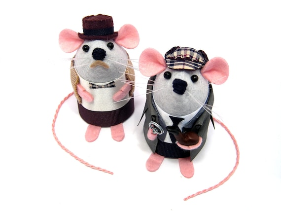 Sherlock Holmes and Doctor Watson Mice Artisan Mouse ornament felt rat hamster mice cute Arthur Conan Doyle fan