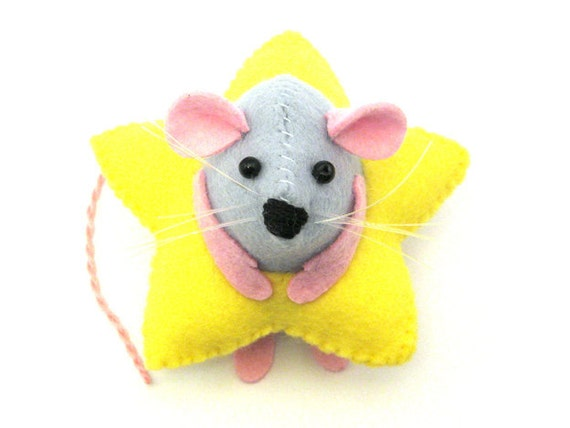 Star Mouse - collectable Christmas art rat artists mice cute felt mouse soft sculpture toy stuffed plush doll ornament gift for xmas