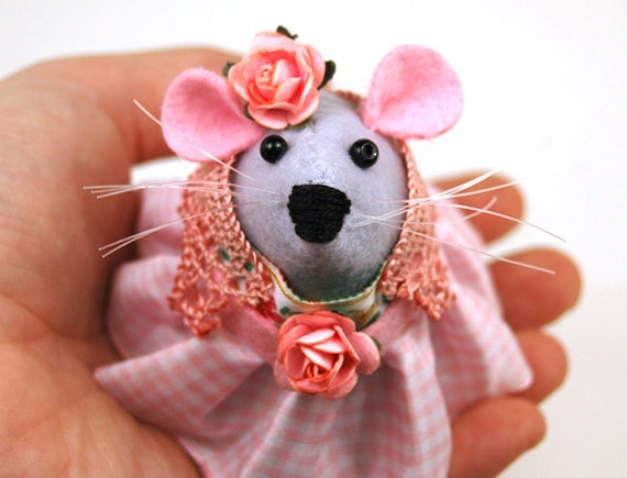 Hippie Mouse Ornament Artisan felt rat hamster mice cute gift for hippy girlfriend wife sister mom mother boho bohemian Blossom Hippy Mouse