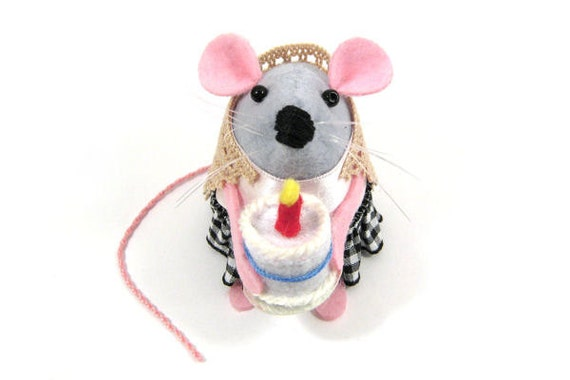 Happy Birthday Mouse Ornament felt mice rat hamster gift animal lover collector - Annie the Birthday Mouse - READY to SHIP
