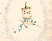 Happy Birthday II - PRINT - 4X6 - Nursery art - Nursery decor - Kids room decor - Children's art - Children's wall art - kids wall art