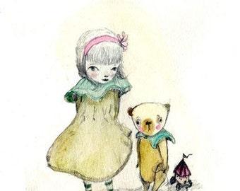 Cori and the Bear - Kids room decor - 8x11 - Baby girl nursery - Wall art - Room decor - Nursery decor - Nursery art