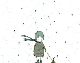 Childrens Wall Art Print -Rainy long walk, BIG PRINT 11.69 x 16.54 inches (A3)
