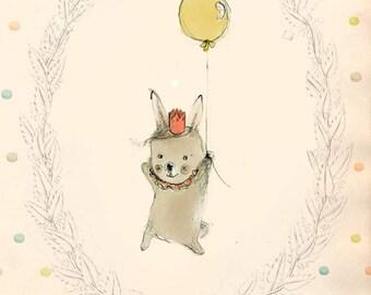 Happy Birthday I - PRINT - 6x8 inches - Nursery art - Nursery decor - Kids room decor - Children's art - Children's wall art - kids wall art