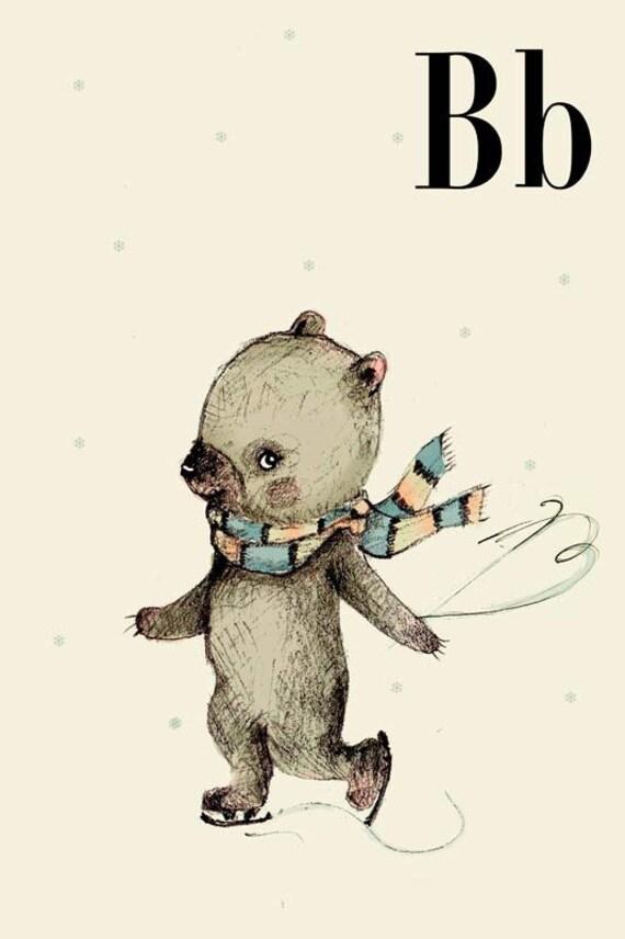B for Bear - 4x6 - Alphabet art - Alphabet print - ABC wall art - ABC print - Nursery art - Nursery decor - Kids room decor - Children's art