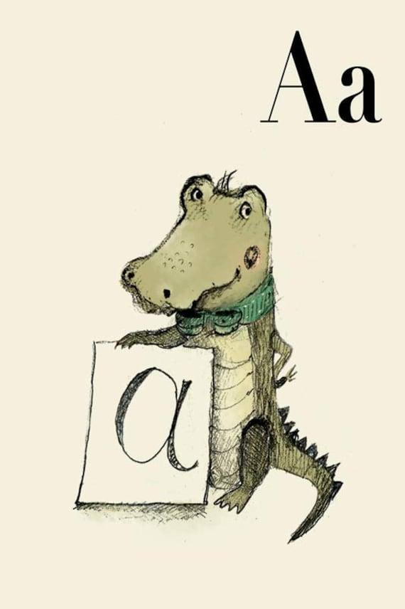 A for Alligator -8x11- Alphabet art - Alphabet print - ABC wall art - ABC print - Nursery art - Nursery decor - Kids room decor
