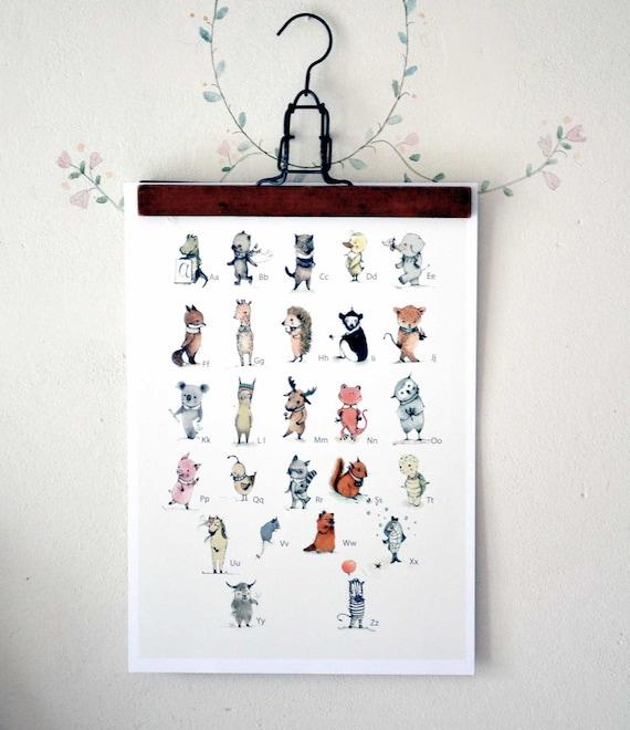 Baby Nursery Art Print Dog Abc Nursery Decor Alphabet Print: Childrens Wall Art Print Alphabet Poster English ABC Plenty