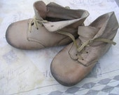Vintage Leather  Shabby Baby Shoes