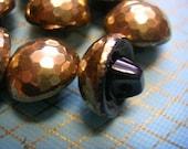 Vintage Black Glass wih Gold Luster Buttons