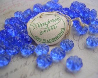 Vintage Blue Flower Beads