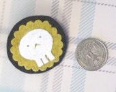 skull yellow brooch or hair clip