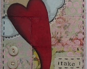 dreams take flight - 5 x 7 ORIGINAL FABRIC COLLAGE by Nancy Lefko