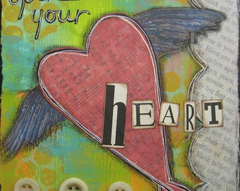 open your heart- 5 x 5 Original Collage on Canvas by Nancy Lefko