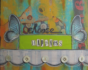 choose happiness - 8 x 8 Original Collage on Canvas by Nancy Lefko