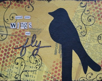 spread your wings and fly - 5 x 7 ORIGINAL COLLAGE by Nancy Lefko