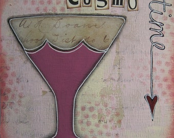 cosmo time - 5 x 5 ORIGINAL COLLAGE by Nancy Lefko