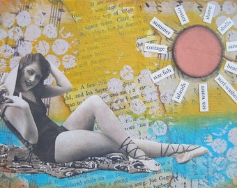 sunkissed - 5 x 7 ORIGINAL COLLAGE by Nancy Lefko