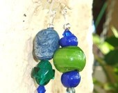 SALE, Green and Blue Eclectic Earrings