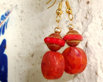 SALE  Scarlet Czech Glass & Coral Earrings