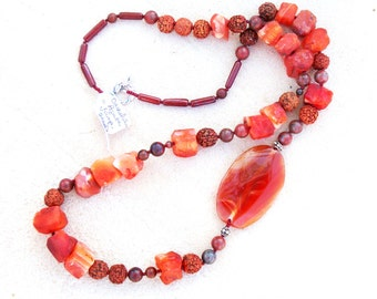 SALE  Asymmetrical Sunset Agate and Carnelian Necklace