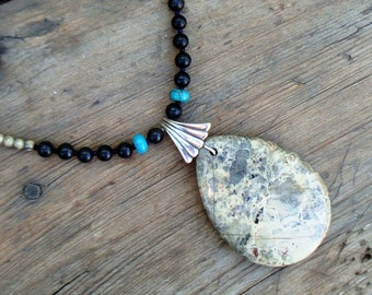 SALE, Picture Jasper & Turquoise Necklace