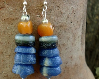 SALE, Blue and Pumpkin African Glass Earrings