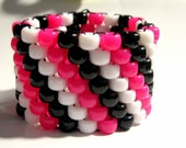 Hot Pink, Black and White Kandi Cuff