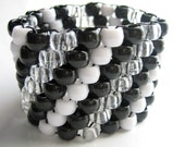 Diagonal Kandi Cuff, Black White Unisex Kandy, Rave Plur Bracelet