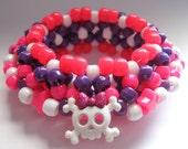 RESERVED - Skull Kandi Cuff, 3D Disc Style, Pink Purple