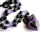 Gothic Lolita Heart Necklace, Black and Purple - Allysin