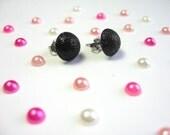 Black Glitter Stud Earrings, Simple Round Studs,  Minimalist