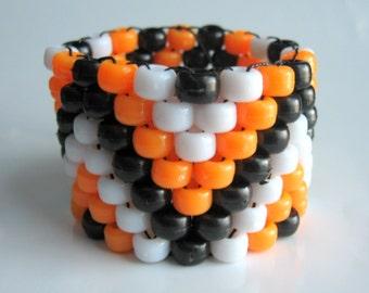 Halloween Kandi Cuff, Stretch Bracelet, Orange Black Kandy, Rave Plur Edm Accessories