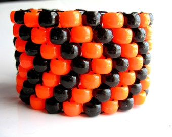 Orange, Black Kandi Cuff, Neon Bracelet, Arrow Pattern, Edm Rave Accessories