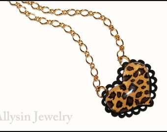 Animal Print Necklace, Kawaii Heart, Brown Leopard Print,  Gold Chain