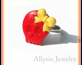 Girly Skull Ring, Red Yellow, Skull and Bow, Kawaii Lolita