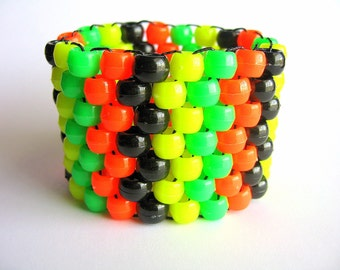 Neon Kandi Cuff Bracelet, Green, Orange, Yellow, Black