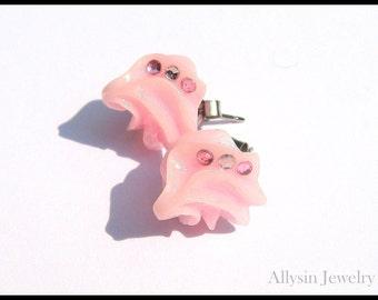 Pink Frosting Earrings, Pastel Kawaii Studs, Whipped Cream,  Rhinestone Fairy Kei Jewelry