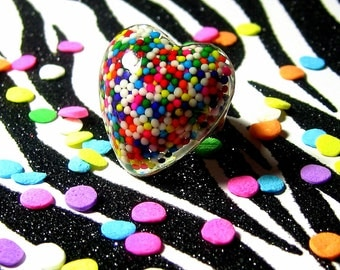 Sprinkles Heart Ring - Resin Rainbow - Candy Jewelry - Kitsch Kawaii