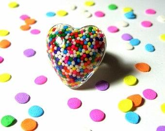 Sprinkles Heart Ring - Resin Rainbow - Candy Jewelry - Kitsch Kawaii