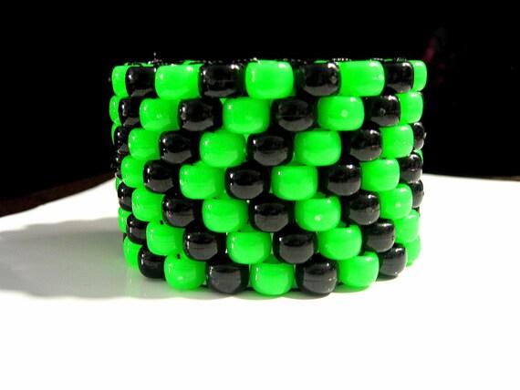 Neon Green and Black Kandi Cuff-Toxic Kandi
