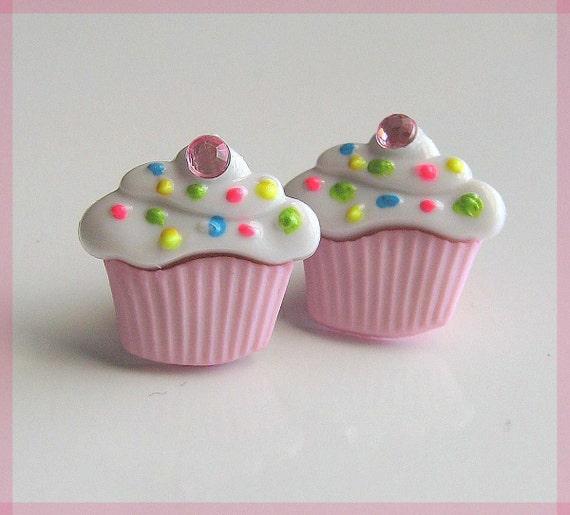 Pink Cupcake Earrings, Pastel Studs, Sprinkles, Kawaii Food Jewelry