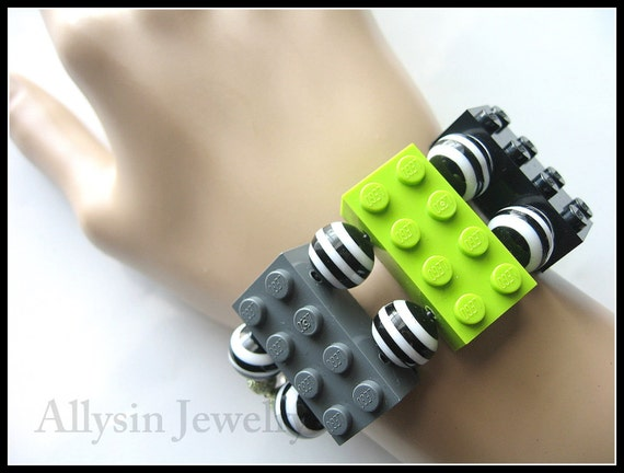 Gray, Lime Green and Black Lego Bracelet