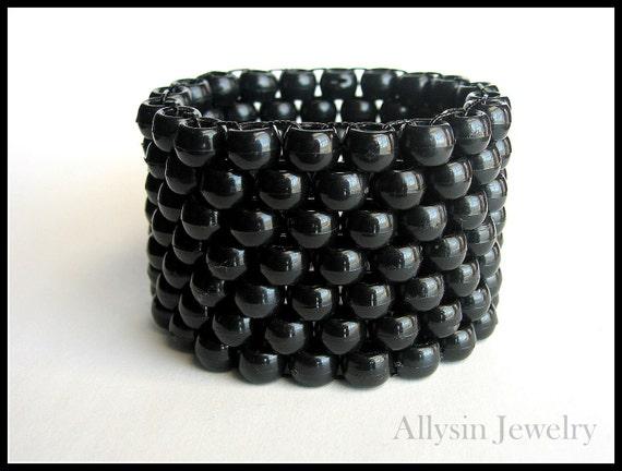 Black Kandi Cuff, Monochrome  Black Bracelet, Raver Plur Jewelry