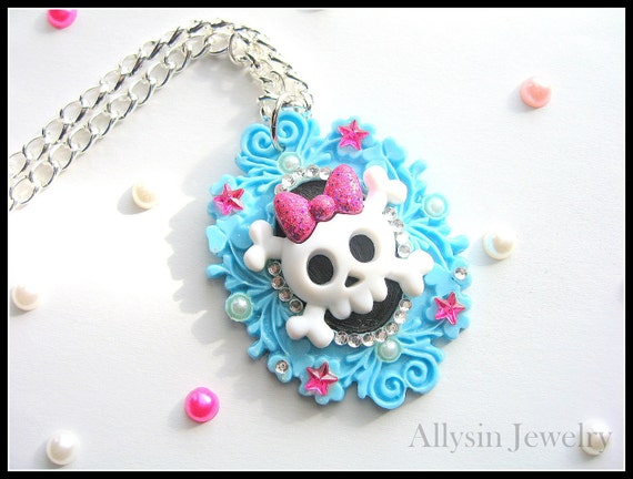 RESERVED - Skull Cameo Necklace, Girly, Baby Blue and Pink
