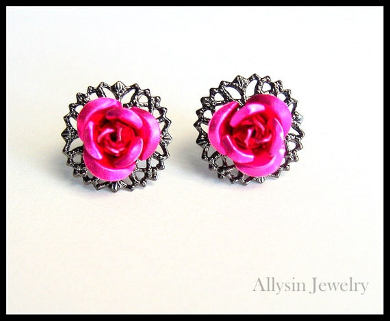 Rose Filigree Stud Earrings in Hot Pink and Gunmetal
